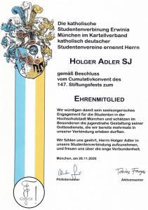 Urkunde Ehrenmitgliedschaft Holger Adler 28.11.2020